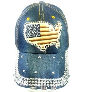 4th of July America Trucker Hat w Bling Distressed